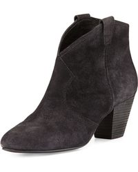 Ash Jalouse Suede Slip-On Western Ankle Bootie - Lyst