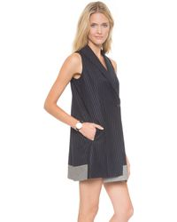 Icb Pinstripe Tux Dress  Iris Multi - Lyst