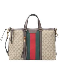 Gucci Newsand Gg Canvas Rania Web Striped Top Handle Tote - Lyst