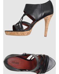 Kenzo Black Platform Sandals - Lyst