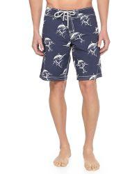 Vilebrequin Ocean Swordfish-print Boardshorts - Lyst
