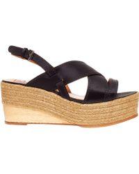 Lanvin Black Espadrille Wedge Satin Sandals - Lyst
