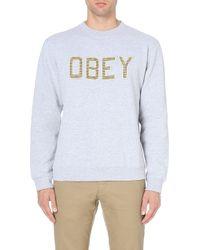 Obey Belton Sweatshirt Grey - Lyst