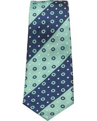 Turnbull & Asser - Slim Oxford Stripe And Circles Tie In Navy And Green - Lyst