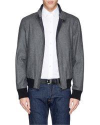 Façonnable Cashmere Rib Knit Lining Wool Felt Jacket - Grey