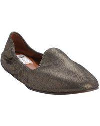Lanvin Bronze Leather Metallic Finish Loafers - Lyst