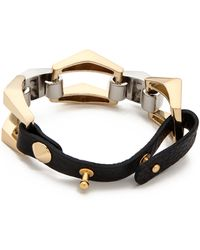 Jules Smith Leather Chain Bracelet Goldsilverblack - Lyst
