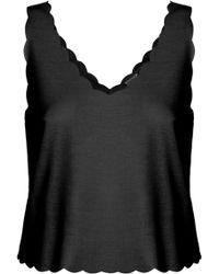 Topshop Womens Scallop Crop Vest  Black - Lyst