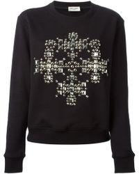 Saint Laurent Studded Cross Sweatshirt - Lyst