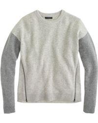 J.Crew Lambswool Zip Sweater in Colorblock - Lyst