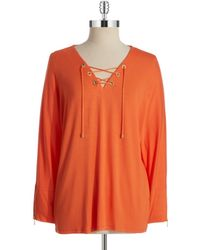 Calvin Klein Lace Up Top - Lyst