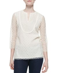 Tory Burch Tali-34-sleeve Combo Honeycomb Top - Lyst