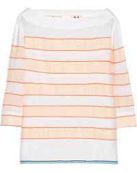 lemlem Bara Striped Cotton-blend Top - Orange
