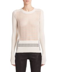 Rick Owens Open-Knit Stripe Sweater - Lyst