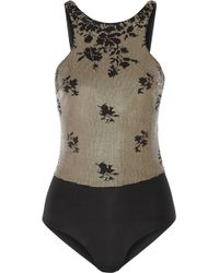 La Perla Ombre Floral Sequined Swimsuit - Lyst