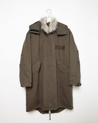 Army by Yves Salomon | Coyote Fur-lined Fishtail Parka | Lyst