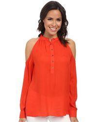Nicole Miller Tucker Cold Shoulder Blouse - Lyst