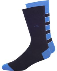 Calvin Klein Blue 2 Pack Block Stripe Socks blue - Lyst