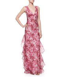 Melinda Eng - Rose-print Organza Ruffle Gown - Lyst
