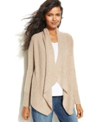 Eileen Fisher Long-sleeve Draped Open Cardigan - Lyst