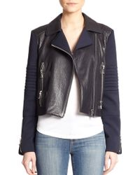 J Brand Aiah Contrast Leather Jacket - Lyst