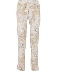 Melissa Odabash - Jude Lizard-Print Silk Crepe De Chine Trousers - Lyst
