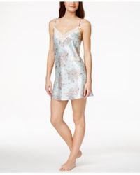 Morgan Taylor - Lace-trim Floral-print Satin Chemise, Only At Macy's - Lyst