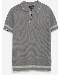 Zara   Two-tone Polo Shirt   Lyst