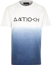 River Island Navy Dip Dye Branded Short Sleeve T-shirt - Lyst