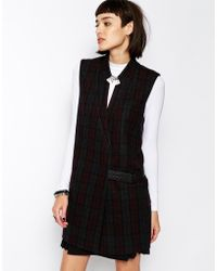 ELEVEN PARIS Fez Irish Tailored Vest In Plaid With Leather Tab
