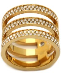 Michael Kors Tri Stack Open Pave Bar Ring Goldclear - Lyst