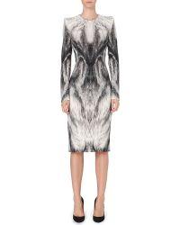 Alexander McQueen Mcq Printed Dress Grey - Lyst