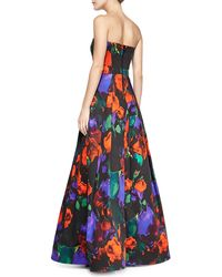 Milly Ava Strapless Floral Gown Multi 0 - Lyst