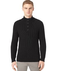 Calvin Klein Wave and Check Knit Button Mock-neck Sweater - Lyst