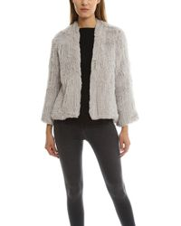 H Brand Emily Rabbit Fur Jacket - Gray