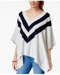 Tommy Hilfiger Striped Sweater Poncho - Gray