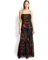 Jean Paul Gaultier Floral-Print Tulle Maxi Dress - Lyst