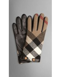 Burberry Wool Check Detail Leather Gloves - Lyst