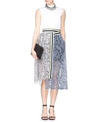 Preen 'Amara' Stripe Crepe Corded Lace Midi Skirt - Lyst