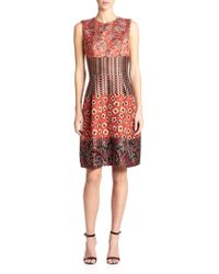 Etro Mixed-Jacquard Dress multicolor - Lyst