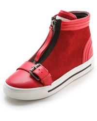 Marc By Marc Jacobs Bmx Zip Up Buckle Sneakers - Black - Red