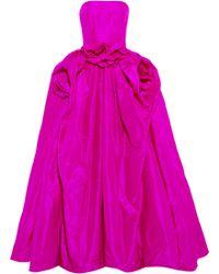 Oscar de la Renta Ruched Strapless Silktaffeta Gown - Lyst