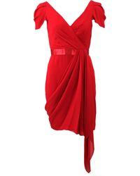 Notte by Marchesa Silk Draped Cocktail Dress - Lyst