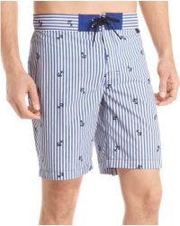Izod Striped Anchor Board Shorts - Blue