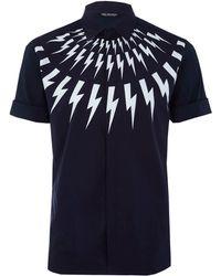 Neil Barrett Navy Lightning Bolt Print Short Sleeve Shirt - Lyst