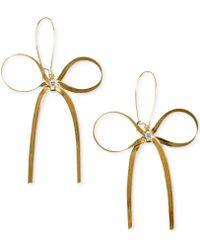 Betsey Johnson Gold-Tone Bow Earrings - Lyst