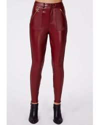 Missguided Agnes Faux Leather Zip Detail Skinny Trousers Oxblood - Lyst