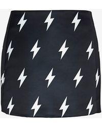 Neil Barrett Lightning Bolt Print Mini Skirt