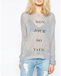 The Laundry Room Bon Jour So Vain Ribbed Sweater - Gray