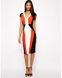 Asos Pencil Dress In Color Block With V-Neck - Lyst